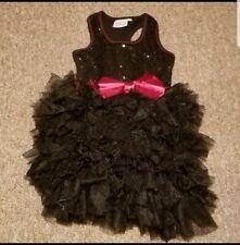 Ooh La La Couture Racerback Black Sequin Ruffles short Dress Size 5 Pageant