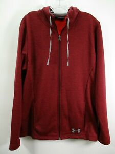Under Armour UA Men's Size Large Red Coldgear Full Zip Activewear Hooded Jacket