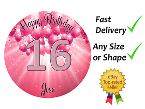Pink Sparkly 16th Happy Birthday cake topper edible icing or Wafer Personalised
