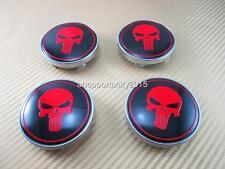 4 Pcs Alloy Wheel Center Rim Hub Caps Red Skull Emblem Badge Decal 60mm For Saab