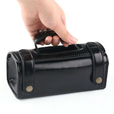 Mens Travel Toiletries Cosmetic Bag Black PU leather Shaving Wash Toiletry Case