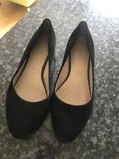 "Ladies Black Suade Foot Glove Shoes 1"" Wedge Size4.5 Heel Leather Inner"