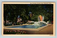Kalamazoo MI, Bronson Park, New Fountain, Garden, Linen Michigan Postcard