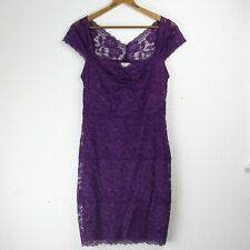 Rubber Ducky L Dress Purple Floral Lace Party Sheer Lined Mini Juniors Large