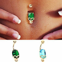 Fashion Crystal Skull Dangle Barbell Bar Belly Button Navel Ring Body Piercing