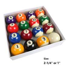 """Billiards Pool Table Billiard Ball Standard Size 2-1/4"""" 1"""" Mini Size Full 16Pcs"""