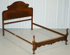 CIRCA 1900 FLAMED MAHOGANY CABRIOLET LEGGED DOUBLE BED FRAME BEDSTEAD HEADBOARD