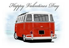VW Type 2 Camper Valentines Day Card