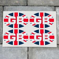 4 x GB Oval Union Jack Euro Stickers - Self Adhesive Vinyl - SKU5348