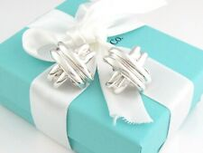 Auth Tiffany & Co Silver Rare Large Signature Earrings Post Clip