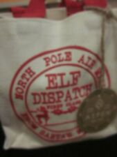 Aspen Canvas Gift Bag North Pole Air Mail Elf Dispatch From Santa'S Workshop New