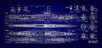 "U-BOAT BLUEPRINT CANVAS 30""X16"" LARGE FRAMED"
