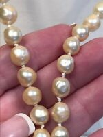 "Vintage Cream White Irregular Shaped Faux Pearl Strand Necklace 30"" Nice Clasp"