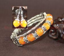 Exquis main-préparé MELLITE Tibet argent femme bracelet et Boucle d'oreille Set