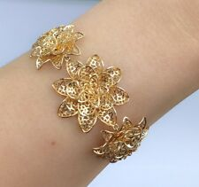14k Solid Yellow Gold Cute 3D Flowers Bracelet, 7 Inches, 13.32 grams