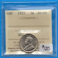 Canada 1923 5 Cents Five Cent Nickel Coin - ICCS AU-55