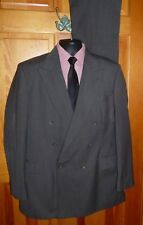 Haggar Men's Dark Gray Pinstripe Double Breasted 2 Pc Suit ~ Sz 42L ~ USA