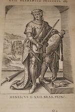 GRAVURE BELGIQUE HENRICUS II BRABANT VEEN COLLAERT 1623 OLD PRINT R987