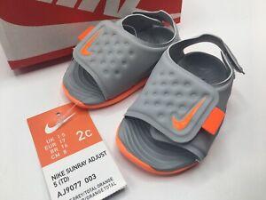 Nike Toddler Sunray Adjust 2C Toddler Kids Orange Gray Sandals - Brand New!