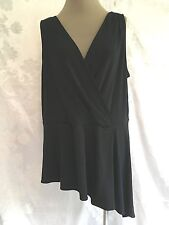 SIMPLY EMMA blouse sleeveless 2X  1X PLUS BLACK ASYMMETRIC  STRETCH SEXY   tank