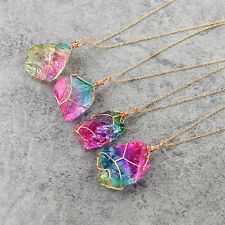 2017Rainbow Stone Natural Crystal Chakra Rock Necklace GoldPlated Quartz Pendant