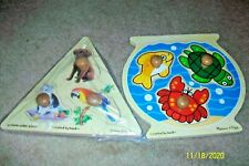 Two Melissa and Doug Wooden Puzzles  Water Fowl and Animals