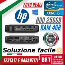 MINI PC DESKTOP FISSO COMPUTER HP PRODESK 400 G2 CPU I5 4GB RAM HDD 256GB WIN10!