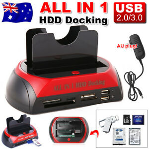 """Dual 2.5"""" 3.5"""" SATA IDE HDD Docking Station Hard Drive SSD Enclosure Card Reader"""