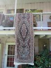 """VINTAGE HAND WOVENWOOL RUG RUNNER 98X31"""" VERY TIGHTLY WOVEN"""