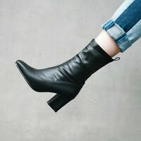Ladies Square Toe Chelsea Ankle Boots Leather Ruched Block Heels Military Shoes