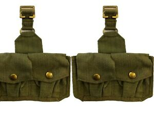 Ww2 37 Pattern Webbing Pair Of  Rifle Ammo  Pouches - Thick Set