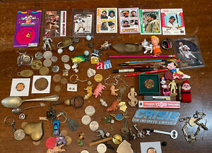 Junk drawer Collectible Sports Cards Coins Marbles Watch Money Vintage Lot C