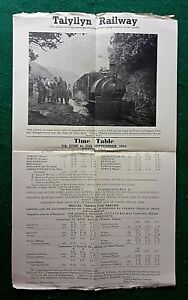 TALYLLYN RAILWAY TIMETABLE POSTER & OFFICIAL GUIDES 1950s