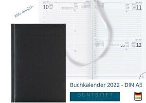 Wochenplaner Buchkalender Chefplaner 2022 schwarz A5 1Tag/1Seite