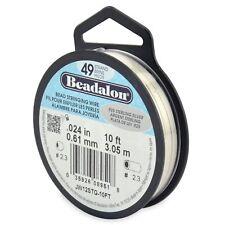 "Beadalon 925 Sterling Silver .024"" Bead Stringing Wire 49 Strand Flex Wire -10ft"