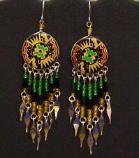 Southwest Design Dangle Earrings Round Shape with Beads in Green, Black and Gold