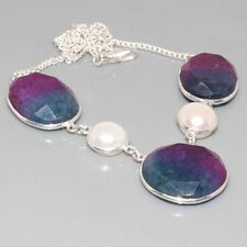 "G12381  Ametrine & 925 Silver Overlay Necklace 16"" Jewelry"