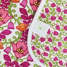 Vera Bradley Baby Lilli Bell Blanket Cotton Reversible Floral Pink White Flowers