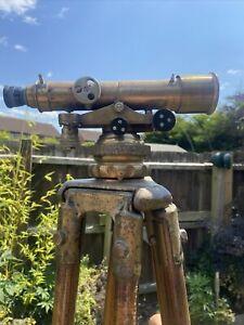 E R Watts & Sons London Brass Theodolite, Surveyors Level wooden tripod