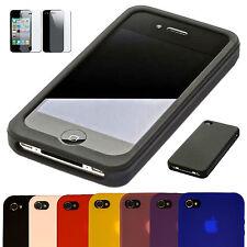 iPhone 4 / 4S SOFT Silikon Schutz Handy Tasche Etui Hülle Cover Bumper 1x FOLIE