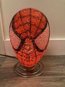 "Marvel 8"" SPIDERMAN Bedroom Table Lamp Night Light Popcorn Bobble Head Works"