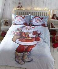 Father Christmas Santa Claus Duvet Quilt Cover Xmas Bedding Linen Set Red White Single