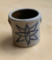 CNC POTTERY -  MINIATURE Stoneware Crock. Blue Painted 8-Point Star.