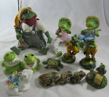 Lot of 13 Frog Figurines, Wall Sitters, Salt & Pepper, Pin Cushion, Vintage