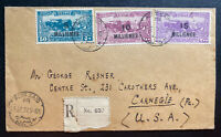1927 Port Said Egypt Airmail Registered Cover To Carnegie PA Usa