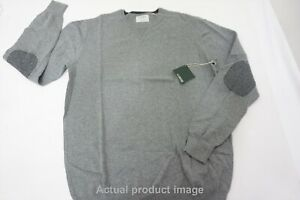 Linksoul Cotton-Cashmere Elbow Patch Sweater Large Grey Crewneck 495D 862734