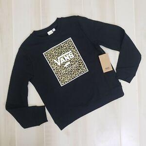 Vans Girls Sweatshirt Medium Leopard Logo Black M Crew Pullover Cheetah NEW
