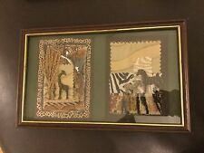 More details for giraffe and zebras framed collage - african themed