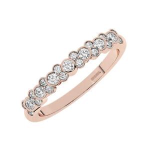 0.50 Cts Bezel Set Round brilliant Cut Diamonds Half Eternity Ring 18K Rose Gold
