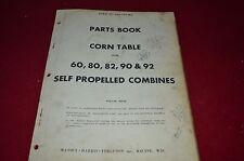 Massey Ferguson Harris 60 82 80 90 92 Corn Table Com Dealer's Parts Manual RWPA